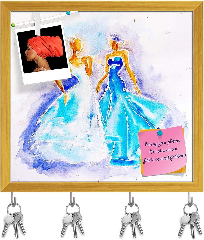 Artzfolio Women in Nice bluee Dresses Key Holder Hooks   Notice Pin Board   golden Frame 17 X 16Inch