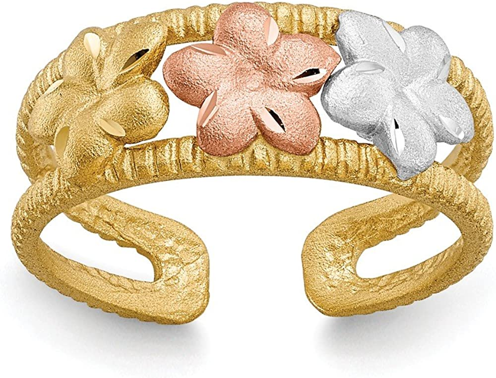 FB Jewels Solid 14K Yellow Gold Two-Tone and Rhodium Plumeria Toe Ring