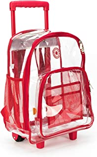 Rolling Clear Backpack Heavy Duty Bookbag Quality See Through Workbag Travel Daypack Transparent School Book Bags with Wheels Red