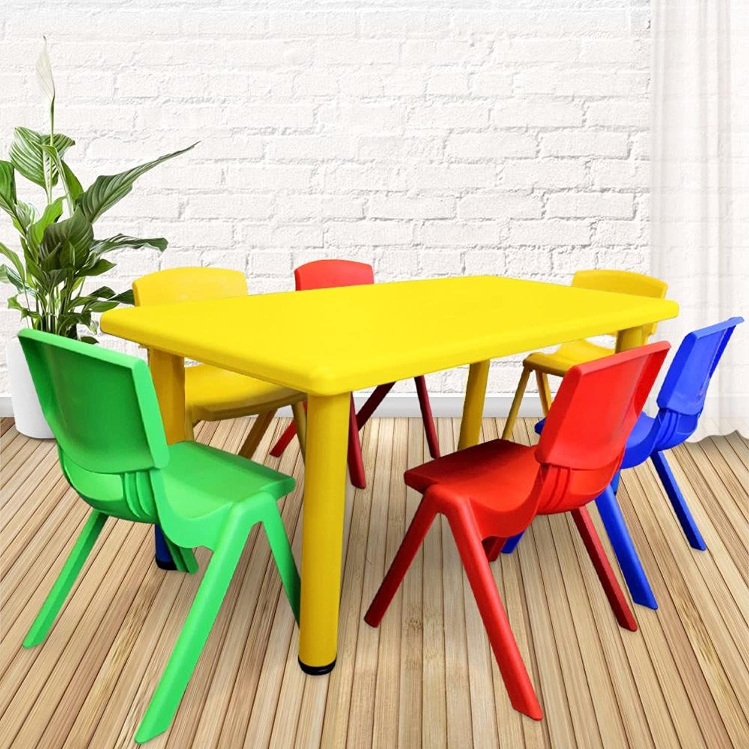 1.2M Kid's Adjustable Yellow Rectangle Table with 6 Chairs Mix Set
