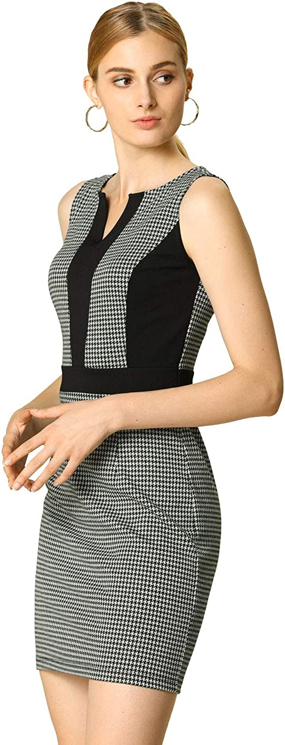 Allegra K Women's Sleeveless Split-Neck Houndstooth Office Bodycon Pencil Dress