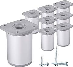 (Lot de 8 pièces) Pieds de meuble à hauteur réglable ronds, matériaux: plastique, aluminium Vis incluses (8, 6 cm de hauteur)