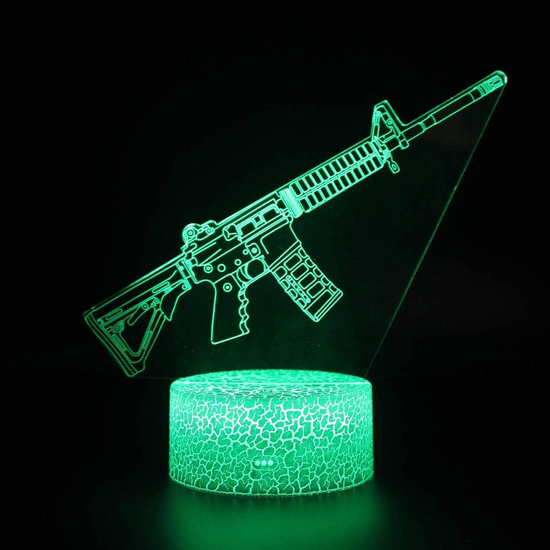 WJXBoos 3D Gun Night Light pour Enfants avec télécommande et Smart Touch 16 Couleurs changeantes et dimmable Cadeaux d'anniversaire de Noël pour garçons Filles (Couleur: C) 3
