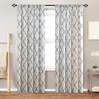 jinchan Moroccan Print Curtains for Living Room Quatrefoil Flax Linen Blend Textured Geometry Lattice Rod Pocket Window Treatment Set for Bedroom 2 Panels 84