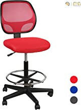 """LUCKWIND Office Drafting Chair Mesh - Armless Task Ergonomic Lumbar Support MidBack Computer Desk Chair Adjustable Stool Swivel Chair with Adjustable Chrome Foot Rest (SGS-BIFMA 21-27"""" Red)"""