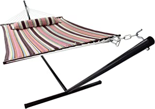 Sorbus Hammock with Spreader Bars and Detachable Pillow, Heavy Duty, Stand, Mocha