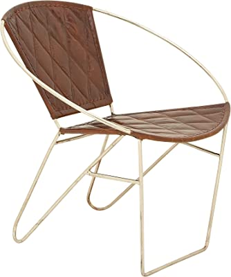 Benzara Metal Brown Leather Chair, Not Applicable