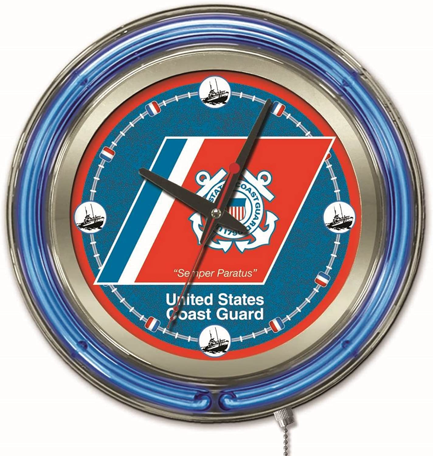 Holland Bar Stool NCAA United States Coast Guard Double Neon Ring 15-Inch Diameter Logo Clock