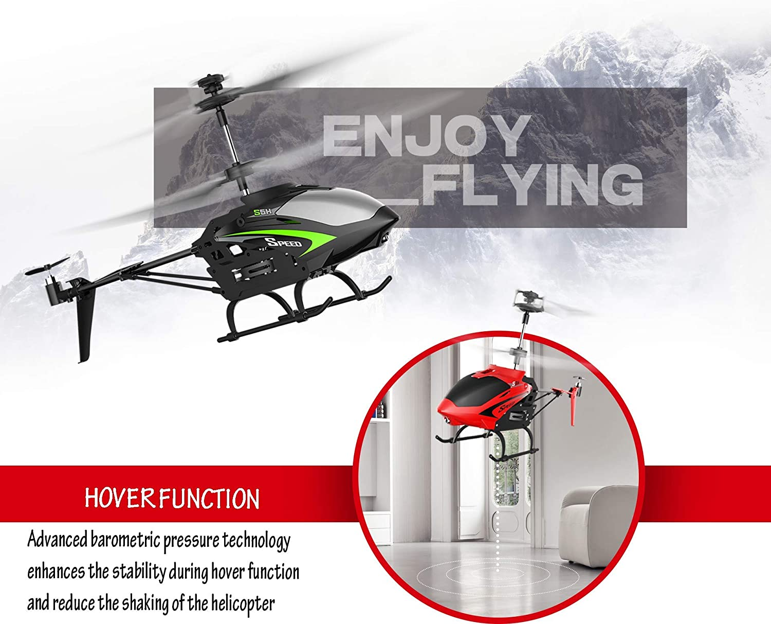 TUSEASY S5H Remote Control Helicopter Altitude Hold RC Helicopters with Gyro for Kids Adults 3 Channel One Key Take Off or Landing Red