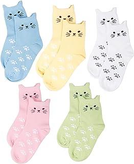 Pack de 5 calcetines, algodón, sin costuras, diseño de gatos