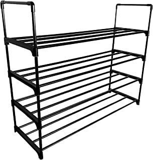 Lumsing Shoe Rack, 4-Tier 20 Pairs of Shoes Large Capacity Shoe Rack, Shoe Organizer Shelf Stackable Storage Cabinet Towers,Black