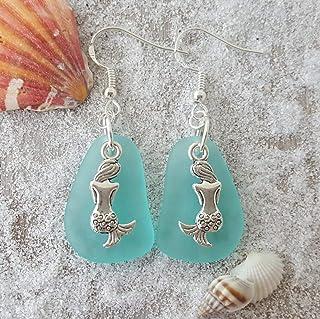 "product image for Handmade in Hawaii,""March Birthstone"" Aqua""Mermaid Twins"" sea glass earrings, mermaid charm, (Hawaii Gift Wrapped, Customizable Gift Message)"