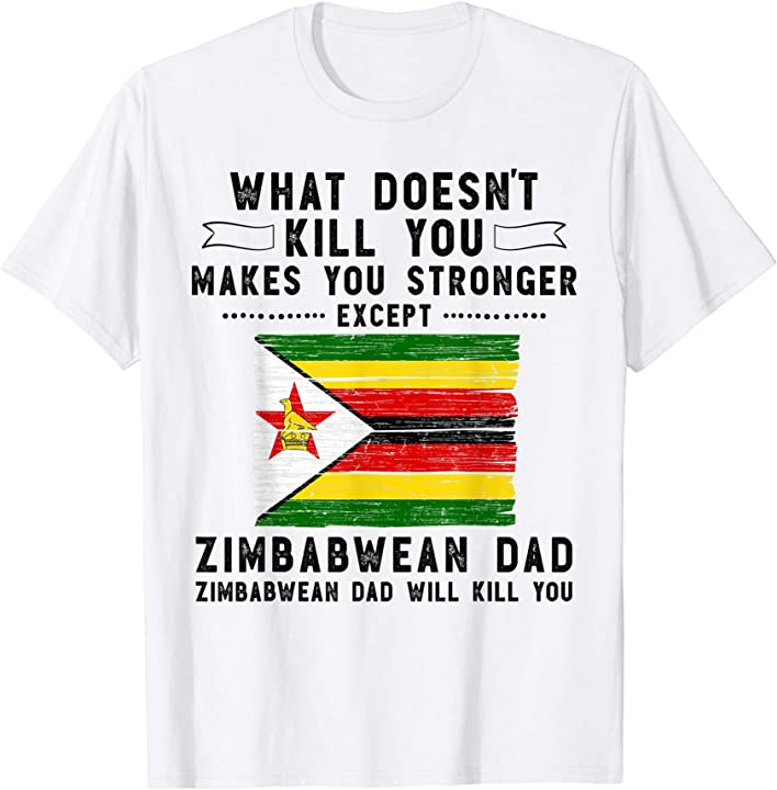Zimbabwe Dad Gifts for men Fathers Day White T-Shirt