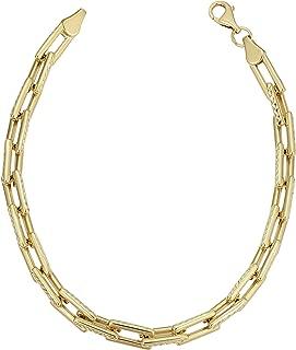KoolJewelry 14k Yellow Gold Diamond-Cut Rectangular Link Bracelet for Women (4.9 mm, 7.5 inch)