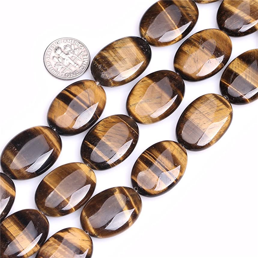 Tiger Eye Beads for Jewelry Making Natural Semi Precious Gemstone 18x25mm Oval Strand 15