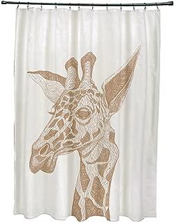 Ebydesign la jirafa Animal Print Shower Curtain, Almond Butter