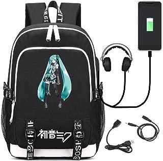 YOYOSHome Anime Hatsune Miku VOCALOID Cosplay Laptop Bag Backpack School Bag with USB Charging Port