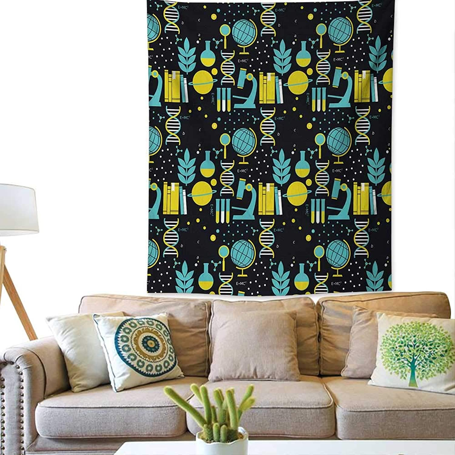 Bybyhome EducationWall tapestryScience Class Themed Biology Chemistry and Physics Predons Neutronscolorful Tapestry 57W x 74L INCHTurquoise Yellow Black