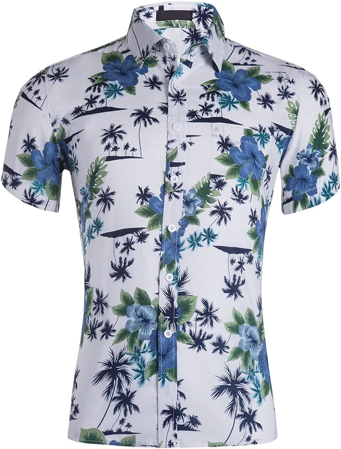 Men's Casual Printed Short Sleeve Slim Fit Button Down Hawaiian Shirts Hipster Hip Hop Pattern Shirt (White 4,X-Large)