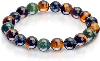 Triple Stone Ultimate Physic Abilities Bracelet – Metaphysical Bracelet– Spiritual Bracelets – Tiger Eye – Blood Stone – Iolite – Supernatural stone Bead Bracelet (10mm)
