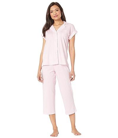 LAUREN Ralph Lauren Cotton Rayon Jersey Knit Short Sleeve Notch Collar Dolman Capri Pants Pajama Set (Pink Stripe) Women