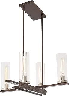 Minka Lavery Chandelier Pendant Lighting 4607-101 Maddox Roe Dining Room Fixture, 4-Light 240 Watts, Iron Ore