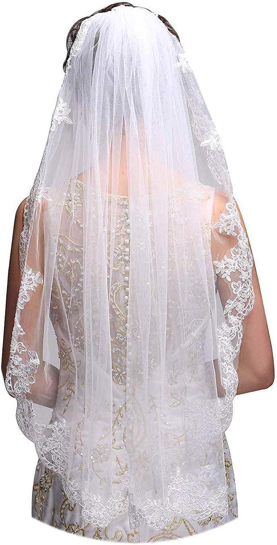 Orcle Soft Lace Appliques Bridal Veil 1 Tier Elegent Wedding Veils With Comb