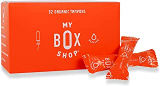 MyBoxShop - 32 Count|Regular - 100% Organic Cotton Tampons with Compact BPA-Free Applicators. No Toxins, Period. Chemical,...