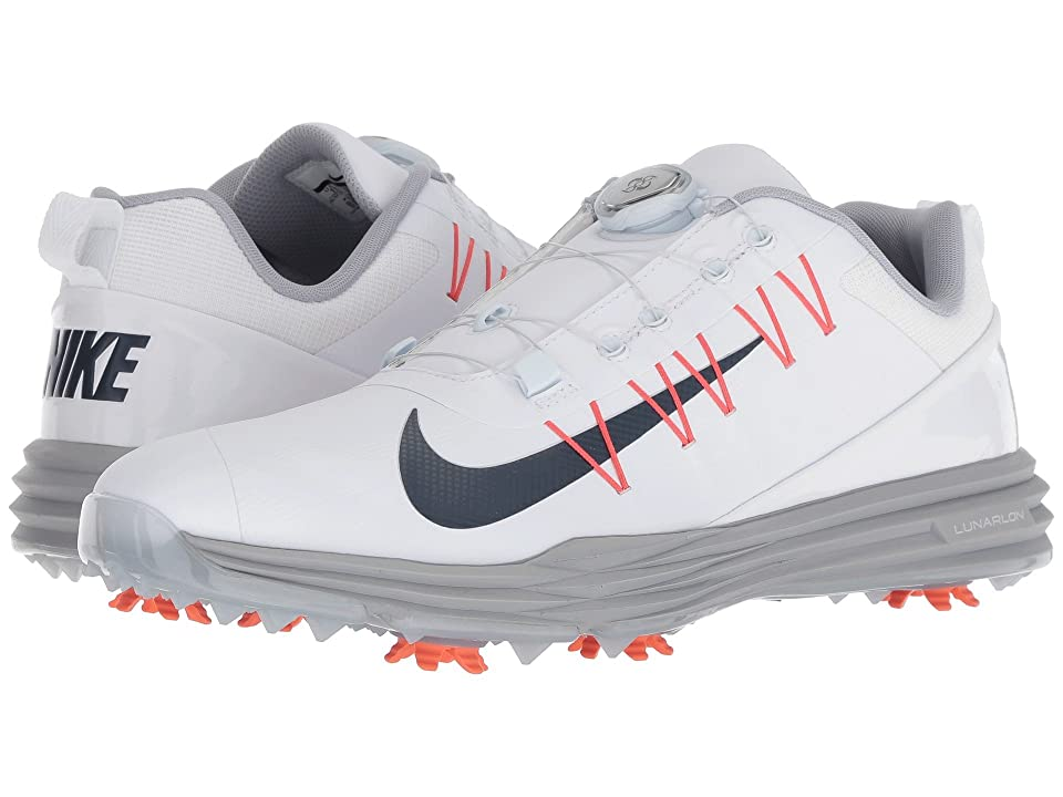 Your game reaches new heights with the Nike Golf Lunar Command 2 BOA. Technical microfiber leather upper for a comfortable  lightweight fit. Flywire cables on the upper provide a dynamic fit and lightweight  adaptive support. Cushioned collar for comfort. BOA closure creates a custom fit with the turn of a dial. Smooth and breathable textile lining. Phylon midsole and Lunarlon heel unit for springy  responsive cushioning. Midfoot shank provides additional support. Rubber outsole with flex grooves for durability and natural range of motion. 7 removable CHAMP PiviX golf spikes twist and lock into a CHAMP SLIM-Lok system for exceptional traction on a variety of surfaces. Imported. Measurements: Weight: 14.4 oz Product measurements were taken using size 11.5  width D - Medium. Please note that measurements may vary by size. Weight of footwear is based on a single item  not a pair.
