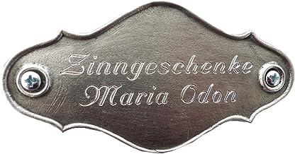 Zinngeschenke Naamplaatje, deurbordje uit tin met de hand gegoten en gepatineerd met gravure naar wens (HxB) 5,0 x 9,5 cm