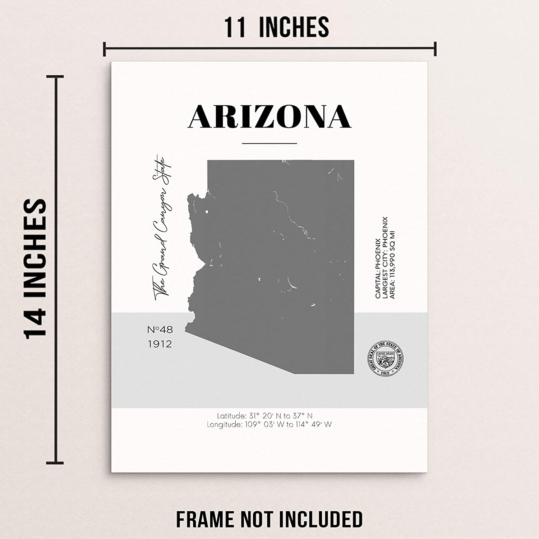 Amazon.com Arizona State Map Poster With Demographics Minimalist ...