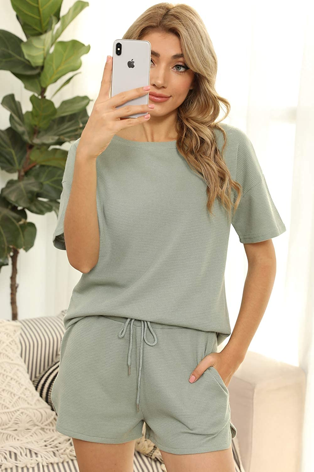 Women's 2 Piece Outfits Waffle Knit Lounge Pajama Sets Summer Top And Shorts Suits