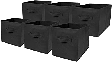 Foldable Storage Cubes, 6 Pcs Cloth Storage Box Bin Container Organizer Basket with Handle for Shelf Closet Drawers Bedroo...