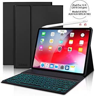 JADEMALL iPad Pro 12.9 Case with Keyboard for Pro 12.9 Inch 2018(3rd Gen),[Support Pencil Charging] Detachable 7 Color Backlit Buleetooth Wireless Keyboard Cover, Magnetic Stand Folio Case, Black
