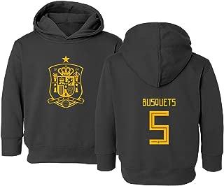 Spain 2018 National Soccer #5 Sergio BUSQUETS World Championship Kids Toddler Hooded Sweatshirt