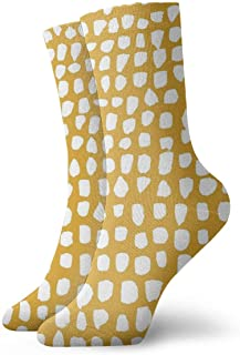 Calcetines Hokzonb con lunares de color mostaza para hombre, para correr, informal, caminar, 30 cm