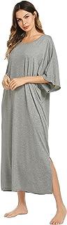 Ekouaer Nightgown, Womens Round Neck/V Neck Loungewear Oversized Pajama Loose Pockets Long Sleep Dress