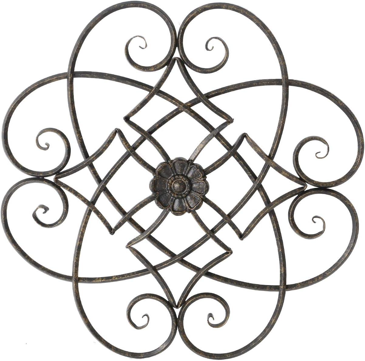 Adeco Metal Flower Wall Decor, Decorative Black Scrolled Flower