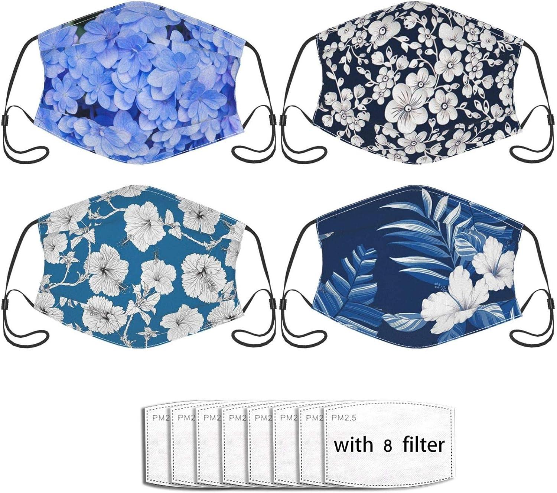 4pcs Flower Face Mask With 8 Filter Washable Face Balaclava Windproof Dustproof Adjustable Mask Unisex