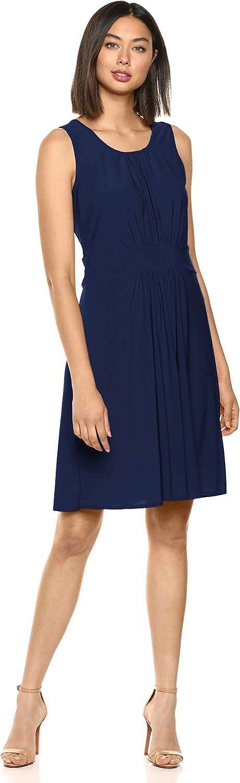 Star Vixen Women's Sleeveless Banded Skater Waist Bodice and Shirred Skirt Short Ity Knit Dress