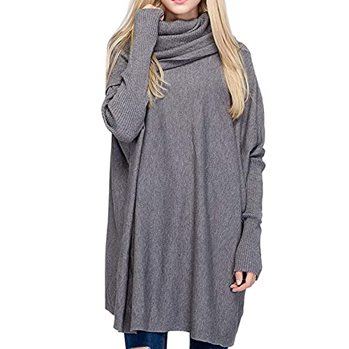 93e733cc68 BOBIBI Women Oversized Cowl Neck Sweaters Long Sleeve Loose Fit Knitted  Pullover
