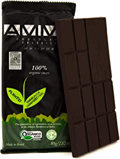 AMMA Organic Dark Chocolate - 100% Pure Cacao, No Sugar, No sweeteners. Delicious Keto Snack, Rich in Healthy Fats and Ant...