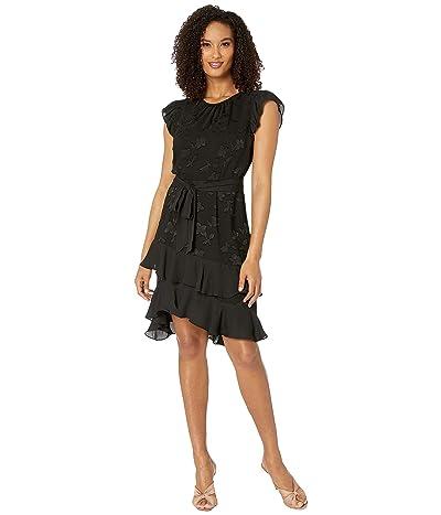 CeCe Flutter Sleeve Clipped Floral Chiffon Dress (Rich Black) Women