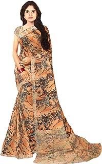 KLM Fashion Mall Women's Fancy Cotton Silk Saree (Beige)