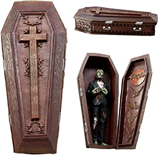Atlantic Collectibles Vampire Coffin Bed Jewelry Trinket Box with Zombie Cadaver Figurine Set Count Dracula Casket Tomb Rest in Peace Keepsake Box with Fitting Decaying Zombie Corpse