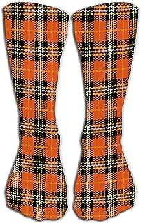 Calcetines hasta la rodilla para mujer Calcetines deportivos 50CM naranja a cuadros de búfalo clásico diseño de patrón de cuadros de búfalo Creativo