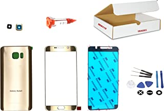 (md0410) Gold Color Front Outer Glass Lens + Back Cover + Camera Lens Replacement Compatible for Samsung Galaxy Note 5 N920 N9200 + Repair Kit (LCD Screen and Digitizer not Included)