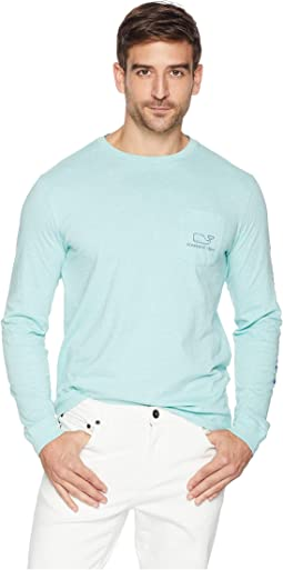 Long Sleeve Heather Vintage Whale Pocket Tee