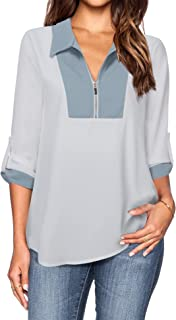 Lotusmile Women's Chiffon Work Blouses 3/4 Sleeve Lapel Zip Up Tunic Blouse Top