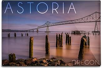 Lantern Press Astoria, Oregon - Astoria Megler Bridge at Sunrise (12x18 Aluminum Wall Sign, Wall Decor Ready to Hang)